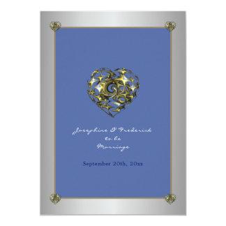 Cartão Coração do casamento do azul e do ouro