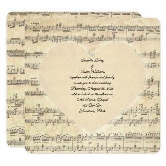 Cartão coração do casamento do sepia na música