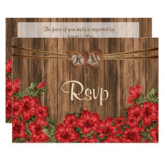 Cartão Coração do monograma de RSVP com as flores