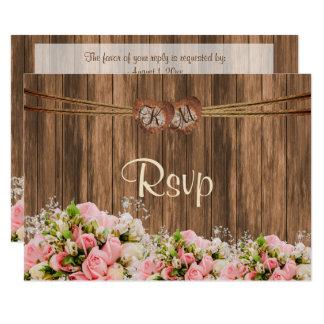 Cartão Coração do monograma de RSVP com os rosas