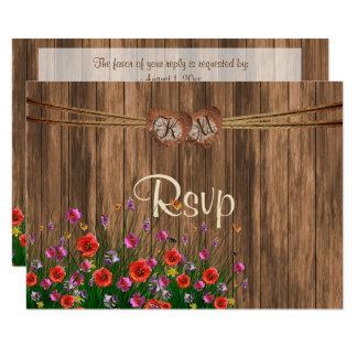 Cartão Coração do monograma de RSVP com Wildflowers do