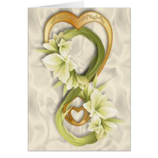 Cartão Coração dobro do Infinidade-Ouro & Cowlilies 2