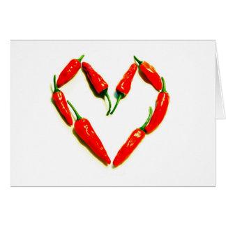 Cartão coração dos pimentões
