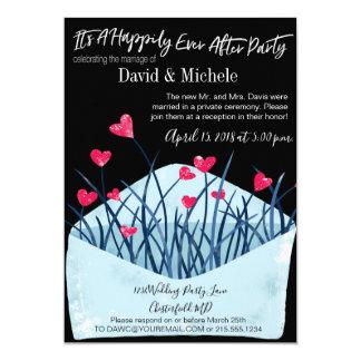Cartão Coração enchido após/convite casamento do cargo