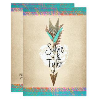 Cartão Coração floral da seta do primavera boémio rústico