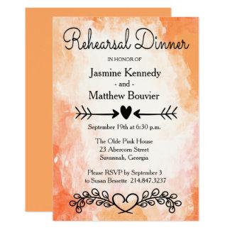 Cartão Coração floral do jantar de ensaio alaranjado da