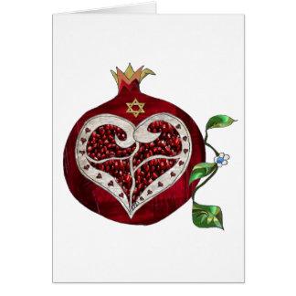 Cartão Coração Hanukkah Rosh Hashanah da romã de Judaica