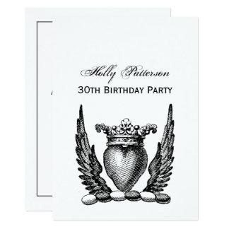 Cartão Coração heráldico com crista da brasão das asas