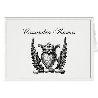 Cartão Coração heráldico com quadro H da brasão das asas