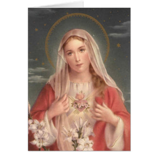Cartão Coração imaculado de Mary