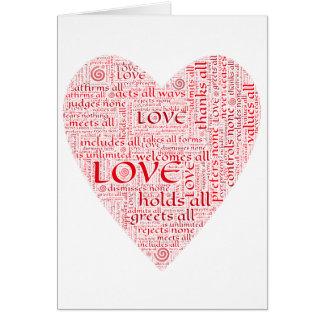 Cartão Coração ou namorados que honram o amor