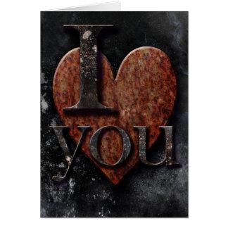 """Cartão Coração oxidado escuro """"eu te amo"""" gótico"""