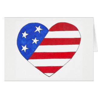 Cartão Coração patriótico azul branco vermelho dos EUA