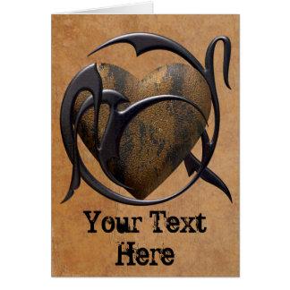 Cartão Coração prendido