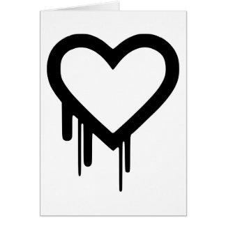 Cartão Coração preto do gotejamento de Heartbleed