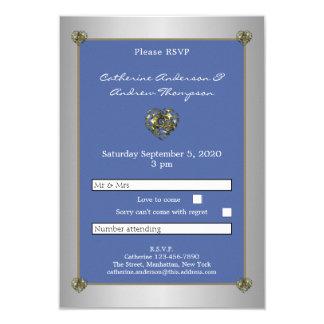 Cartão Coração RSVP do casamento do azul e do ouro