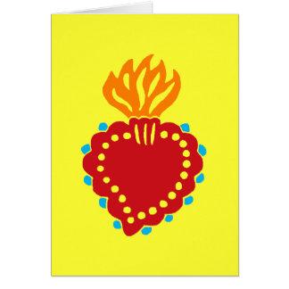 Cartão Coração sagrado da arte popular mexicana