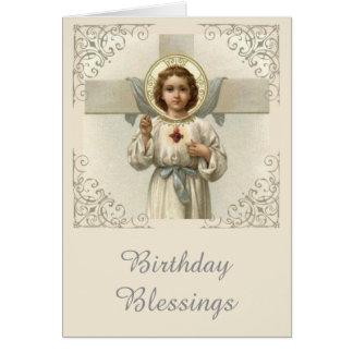 Cartão Coração sagrado da criança Jesus com cruz