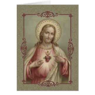 Cartão Coração sagrado de Jesus com beira decorativa