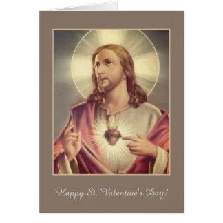 Cartão Coração sagrado de namorados do coração de Jesus