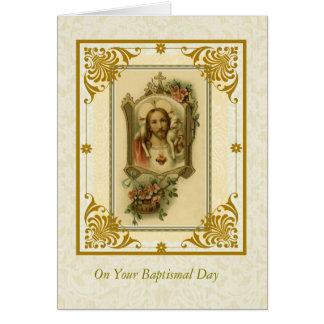 Cartão Coração sagrado do ADULTO do BAPTISMO de Jesus com