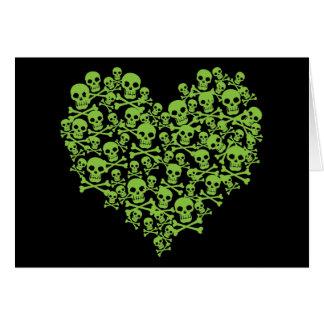 Cartão Coração verde do crânio