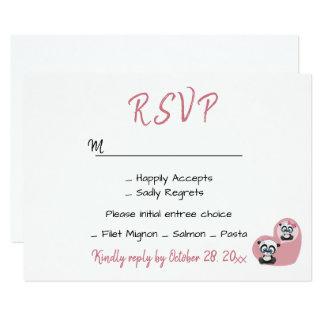 Cartão Coração Wedding cor-de-rosa do urso de ursinho da