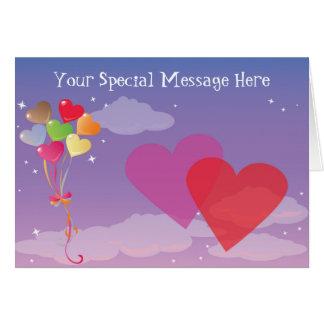Cartão Corações & balões românticos da noite