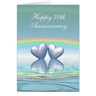 Cartão corações da platina do aniversário do 70