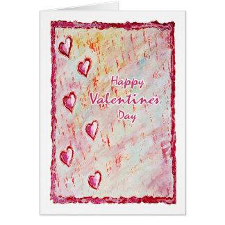 Cartão Corações de flutuação felizes do amor do dia de