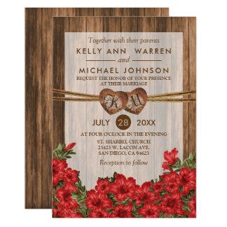 Cartão Corações de madeira do monograma com lírios