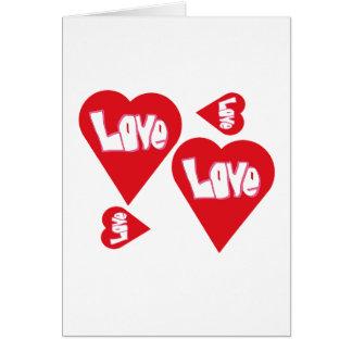 Cartão Corações do amor