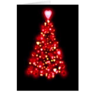 Cartão Corações do amor da árvore do vermelho e do ouro