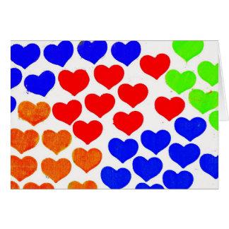 Cartão Corações do arco-íris