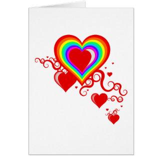 Cartão corações do squiggle do arco-íris