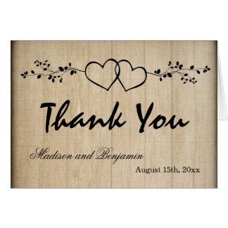 Cartão Corações dobro rústicos que Wedding o obrigado