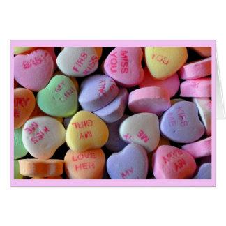 Cartão Corações dos doces para o dia dos namorados