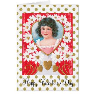 Cartão Corações dourados nostálgicos e margaridas brancas