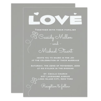 Cartão Corações e borboletas do casamento das cinzas & do