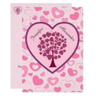Cartão Corações e casamento cor-de-rosa da árvore do