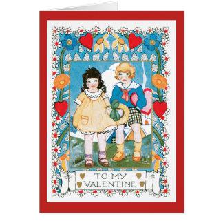 Cartão Corações e flor nostálgicos das crianças dos
