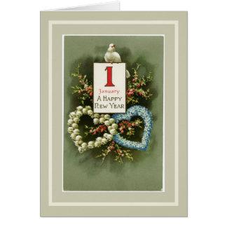 Cartão Corações florais do vintage e feliz ano novo da
