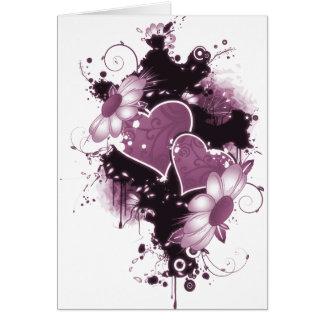 Cartão Corações & flores dobro - rosa