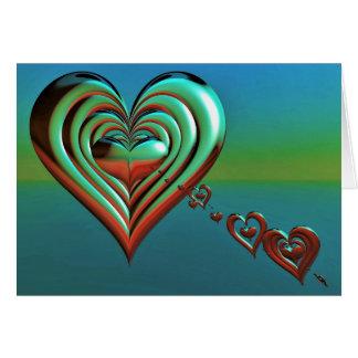 Cartão Corações muito ao alto