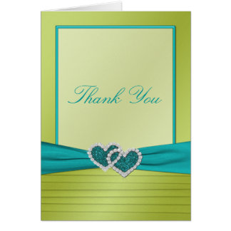 Cartão Corações no obrigado dos plissados do limão você