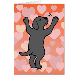 Cartão Corações pretos dos desenhos animados do abraço do