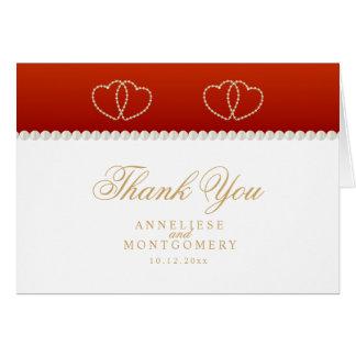 Cartão Corações vermelhos escuro e do ouro - obrigado
