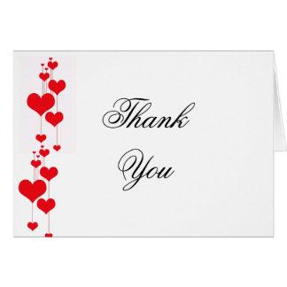 Cartão Corações vermelhos que Wedding o obrigado você