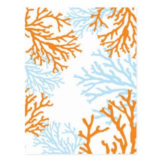 Cartão corais alaranjados & azuis