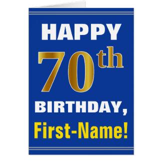 Cartão Corajoso, azul, aniversário do 70 do ouro do falso
